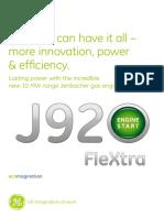 Motor GE Jenbacher J920 Caracteristici