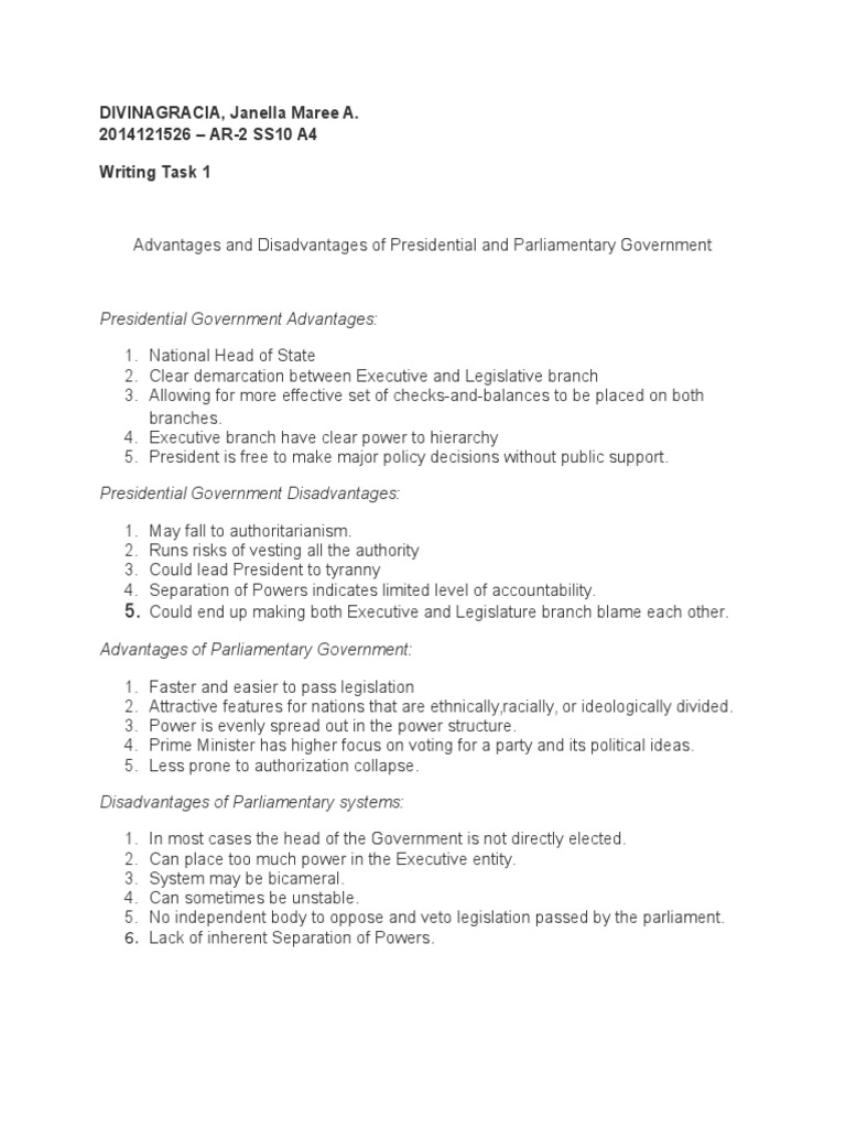 disadvantages of parliamentary system of government