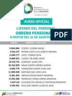 Listado Obrero Pensionado - Agosto 2016 - Notilogía