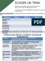 Tabla Criterios Elección y Justificación de Tema Investigación