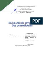Decisiones Inversion Sus Generalidades