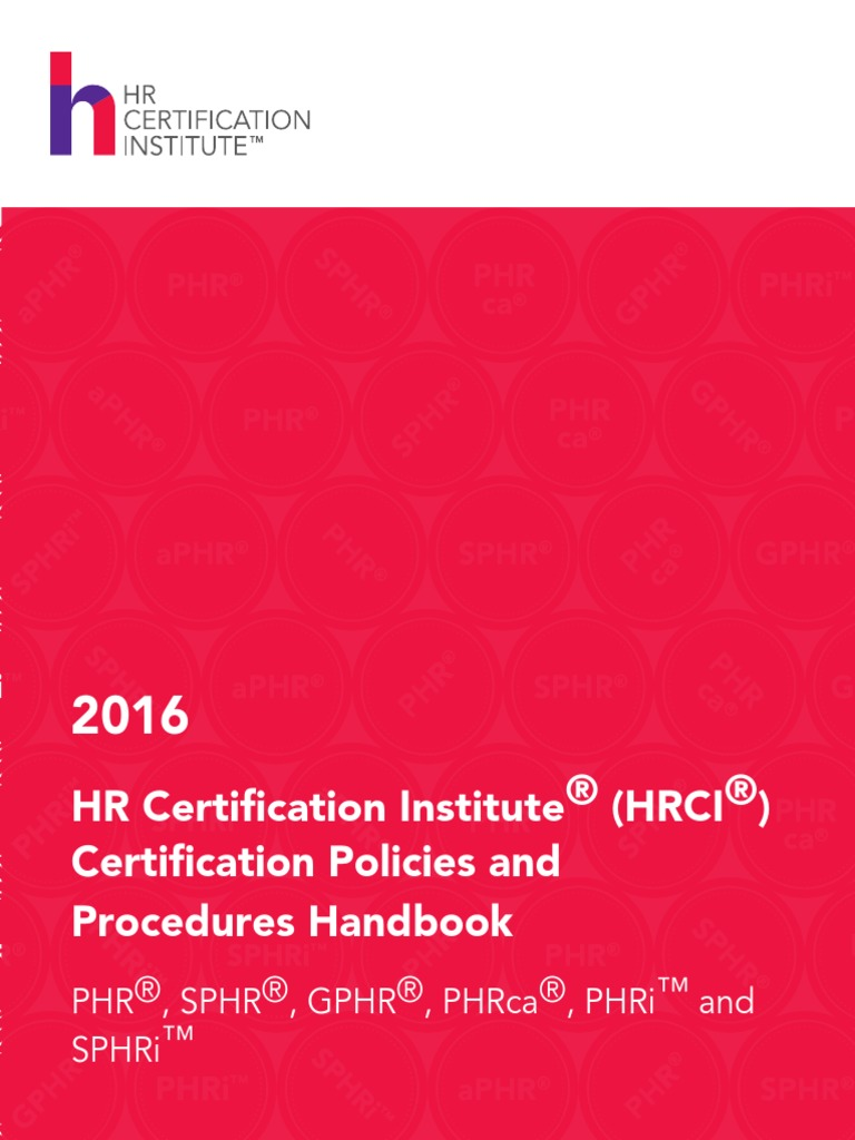 Hrci Certification Policies And Procedures