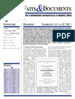 Faits Et Documents 231 - Sarkozy Et La Franc-maçonnerie
