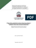 MODELO PARA LA GESTIÓN DEL CAPITAL INTELECTUAL DURANTE LA FASE DE DEFINICIÓN DE LOS PROYECTOS INDUSTRIALES