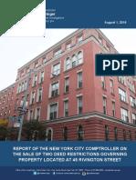 City Comptroller Scott Stringer report on the sale of the Rivington