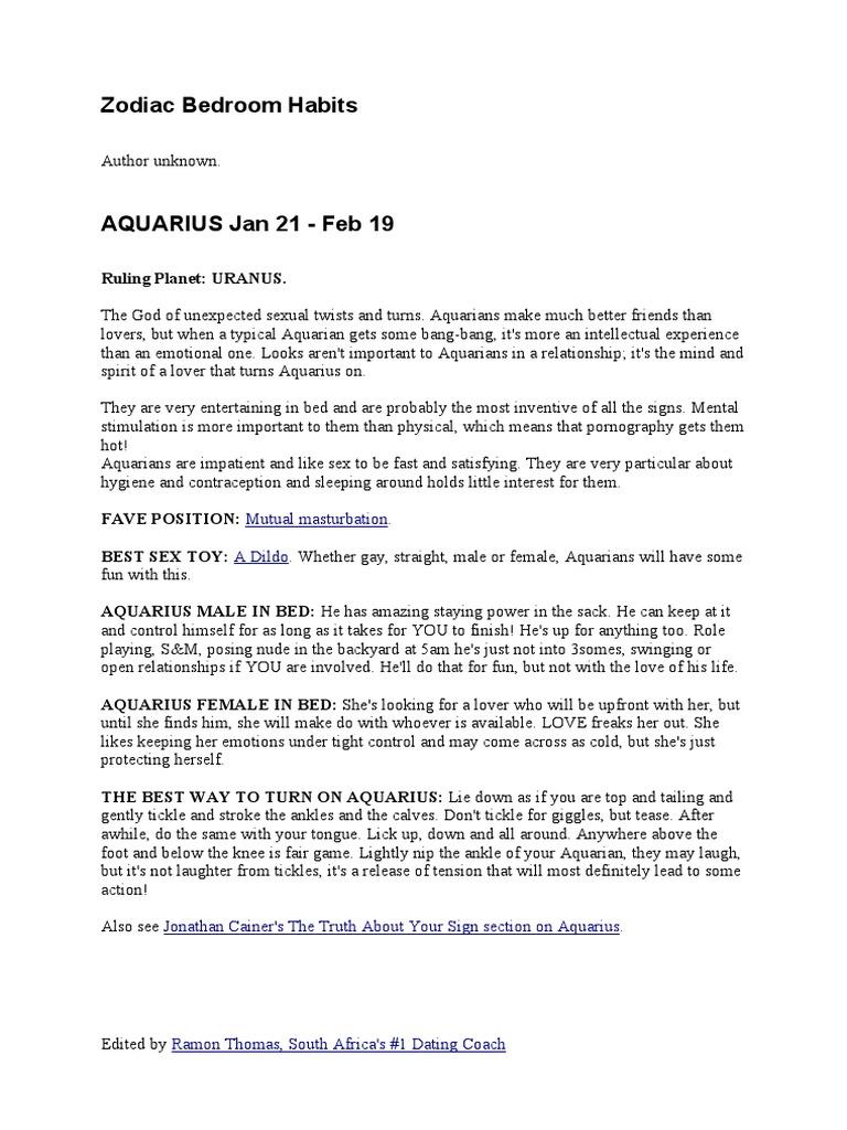 Sex tips for aquarius woman