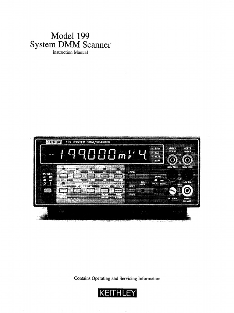 Keithley 199 Manual | Safety | Image Scanner