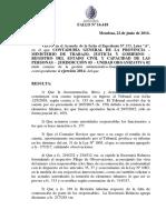 Registro Civil Sanción a Olga Videla