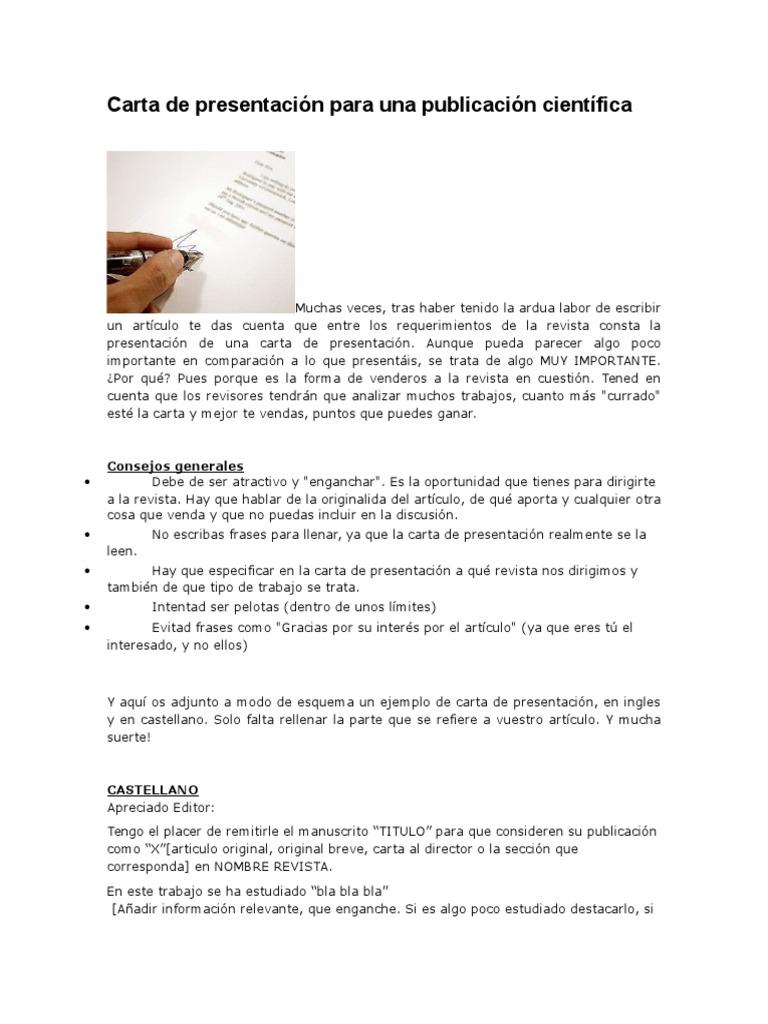 Fantástico Ejemplo De Carta De Presentación Para El Documento De ...