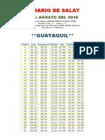 Horarios de Salats AGOSTO 2016 Ecuador