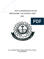 Assessment and Promotion Rules (Matric Vocational 2-Year)