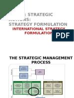 International Strategy Formulation