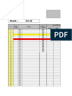 Employees Attendence Sheet