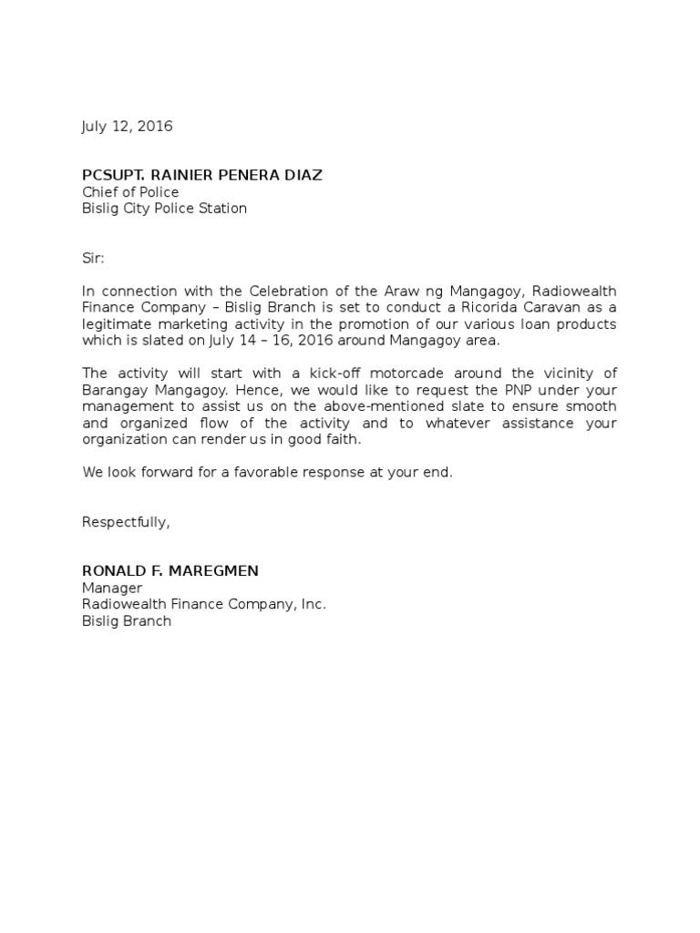 promotion letter request