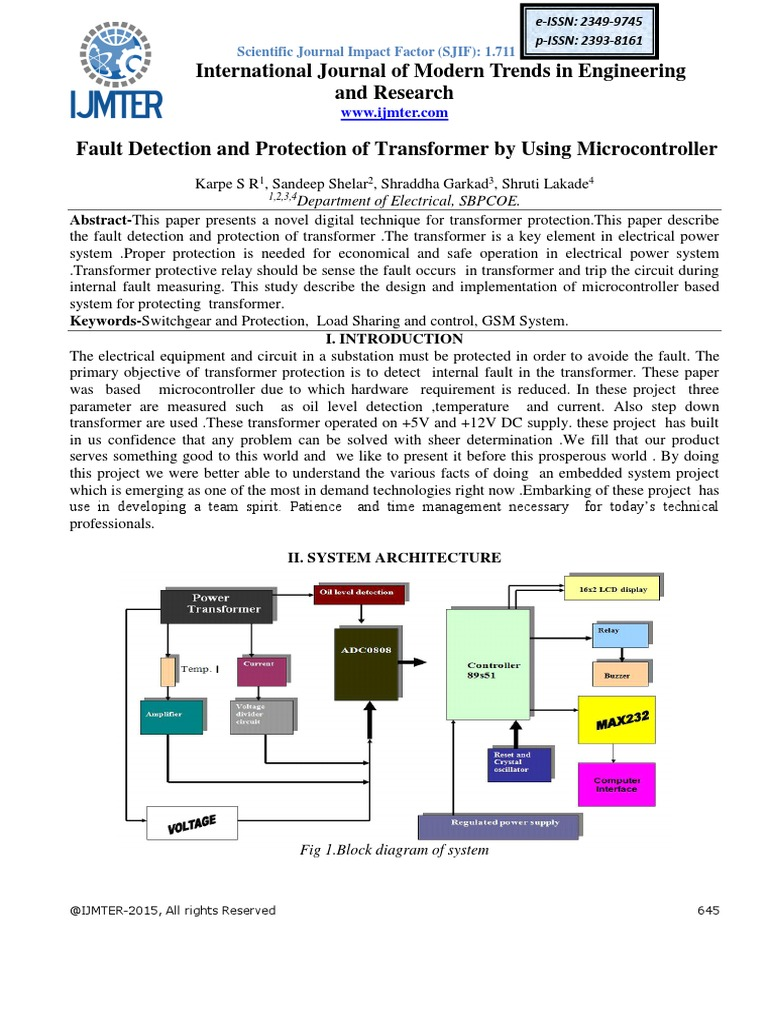 Fault Detection And Protection Of Transformer By Using Block Diagram Microcontroller Rectifier Analog To Digital Converter