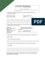 Exit Questionnaire