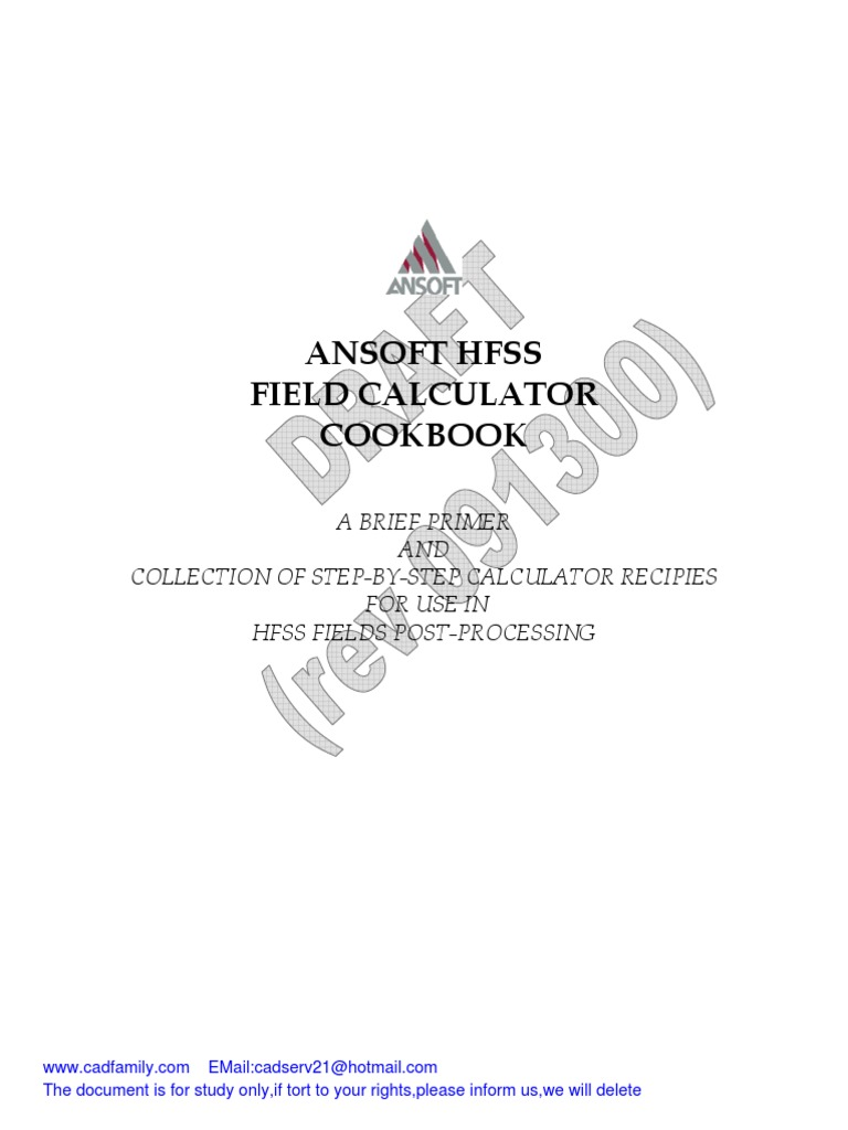 Ansoft Hfss v11 Field Calculator Cookbook | Scalar (Mathematics
