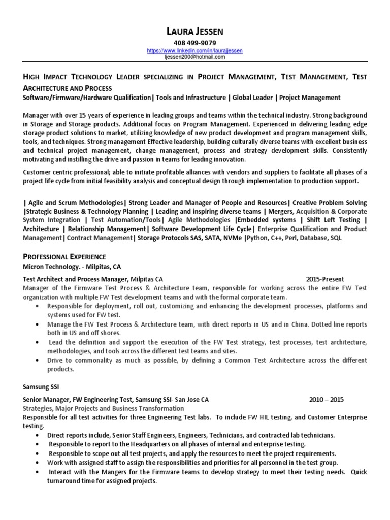 Test Program Project Manager in San Francisco Bay CA Resume