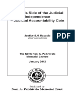 The Tails Side of the Judicial Independence - Judicial Accountability Coin by Justice S.H. Kapadia