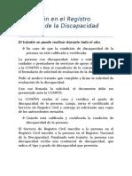 Inscripción en El Registro Nacional de La Discapacidad