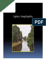 Resumen del concepto de energía especifica