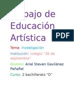 Trabajo de Educación Artística ARIEL GAVILANEZ