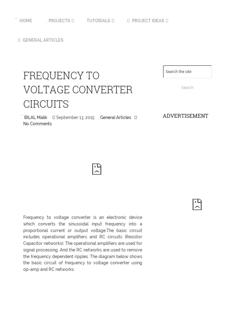 Frequency to Voltage Converter Circuit Diagram | Operational Amplifier |  Amplifier
