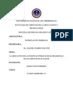 La Aplicación de Las Políticas Públicas en El Desarrollo de Los Niños en El Ecuador