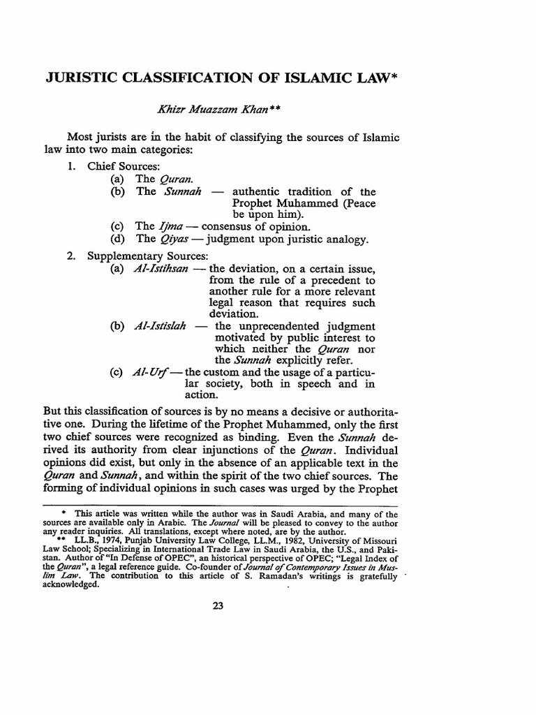 khizr khan juristic classification islamic law | quran | muhammad