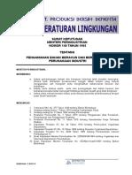 SK MenPerInd Tahun 1985 No 148 - Pengamanan Bahan Beracun & Berbahaya Di Perusahaan Industri