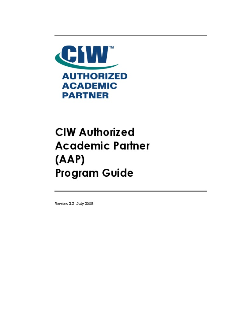 Ciw Program Guide Professional Certification Test Assessment