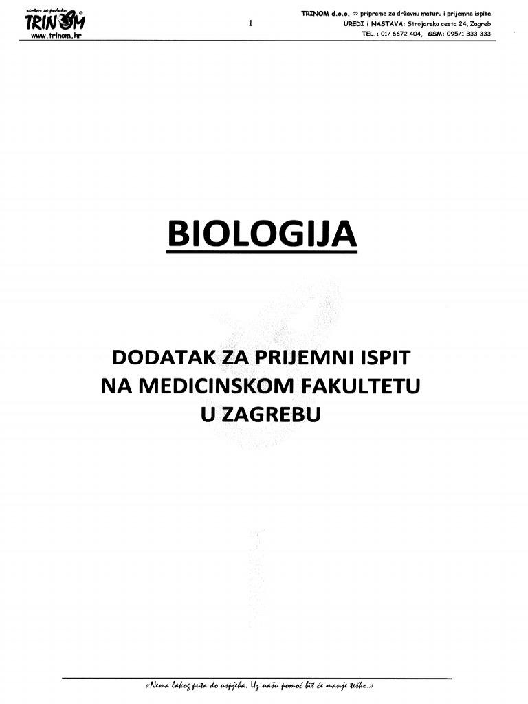 Biologija Dodataka Za Medicinski Fakultet