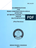 IRC 034 - Recommendations for Road Construction in Areas Affected by Water Logging, Flooding and or Salts Infestation