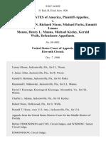United States v. Jimmy Lee Nixon, Richard Nixon, Michael Parks, Emmitt Lamar Manns, Henry L. Manns, Michael Keeley, Gerald Wells, 918 F.2d 895, 11th Cir. (1990)