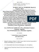 Local Union 48 Sheet Metal Workers, Board of Trustees, Sheet Metal Workers National Pension Fund, Board of Trustees, Sheet Metal Workers National Cola Fund, Board of Trustees, National Stabilization Agreement of Sheet Metal Industry Trust Fund, Board of Trustees, National Training Fund for the Sheet Metal and Air Conditioning Industry, Board of Trustees, National Energy Management Institute Committee, Board of Trustees, Sheet Metal Occupational Health Institute Trust Fund, Sheet Metal Workers Local Union No. 48 Welfare Fund, Jw Rollan, Abram Carpenter, Sam P. Rollan, Jr., Ken Turner, Gene Dykes, David Shelby as Trustees of Sheet Metal Workers Local Union No. 48 Welfare Fund, Plaintiffs-Counter-Defendants v. S.L. Pappas & Company, Inc., Defendant-Counter-Claimant, P & M Mechanical, Inc., 106 F.3d 970, 11th Cir. (1997)