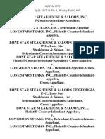 Lone Star Steakhouse & Saloon, Inc., Plaintiff-Counterdefendant-Appellant v. Longhorn Steaks, Inc., Lone Star Steaks, Inc., Plaintiff-Counterdefendant-Appellee v. Lone Star Steakhouse & Saloon of Georgia, Inc., Lone Star Steakhouse & Saloon, Inc., Defendants-Counterclaimants-Appellants. Lone Star Steakhouse & Saloon, Inc., Plaintiff-Counterdefendant-Appellant, Cross-Appellee v. Longhorn Steaks, Inc., Lone Star Steaks, Inc., Plaintiff-Counterdefendant-Appellee v. Lone Star Steakhouse & Saloon of Georgia, Inc., Lone Star Steakhouse & Saloon, Inc., Defendants-Counterclaimants-Appellants, Lone Star Steakhouse & Saloon, Inc., Plaintiff-Counterdefendant-Appellee v. Longhorn Steaks, Inc., Defendant-Counterclaimant-Appellant. Lone Star Steaks, Inc., Plaintiff-Counterdefendant-Appellant v. Lone Star Steakhouse & Saloon of Georgia, Inc., Lone Star Steakhouse & Saloon, Inc., Defendants-Counterclaimants-Appellees, 122 F.3d 1379, 11th Cir. (1997)