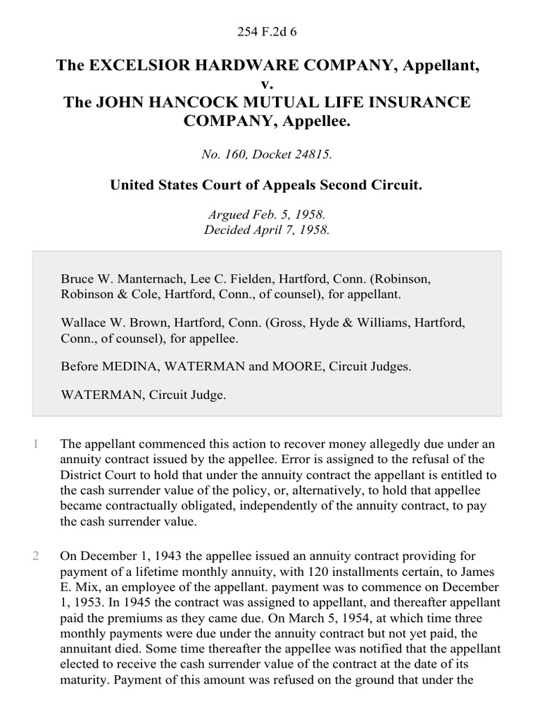 Hartford Annuity Login >> The Excelsior Hardware Company V The John Hancock Mutual Life