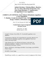Igor Azrielli, Vladimir Kirchner, Nicholas Blinov, Beatrice Vest, Ilia Kalinovsky, Lev Katz, Riccobono Properties, Ltd., Aaron Roytenberg, Faina Kirchner v. Zamaryonov, Plaintiffs-Appellants-Cross-Appellees v. Cohen Law Offices, James Khani, Defendants-Appellees-Cross-Appellants v. Bankin, Awada Investment Corp., Abelis Rachkauskas, Sergey Yekimov, 21 F.3d 512, 2d Cir. (1994)