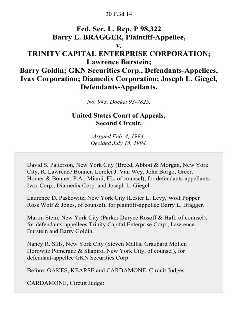 Soto tcpa settlement - Fed Sec L Rep P 98 322 Barry L Bragger V Trinity Capital Enterprise Corporation Lawrence Burstein Barry Goldin Gkn Securities Corp Ivax Corporation