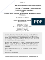 Michael A. Lebron, Plaintiff-Counter-Defendant-Appellee v. National Railroad Passenger Corporation (Amtrak), and Transportation Displays, Incorporated, Defendant-Counter-Claimant, 74 F.3d 371, 2d Cir. (1995)