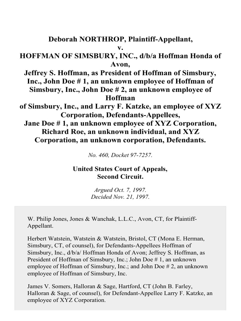 Hoffman Of Simsbury, Inc., D/B/A Hoffman Honda Of Avon, Jeffrey S. Hoffman,  As President Of Hoffman Of Simsbury, Inc., John Doe 1, An Unknown Employee  Of ...