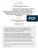 City of New York v. Rodney E. Slater, Secretary of Transportation, Charles A. Hunnicutt, Assistant Secretary for Aviation and International Affairs, Federal Aviation Administration, U.S. Department of Transportation, Frontier Airlines, Inc., Valujet Airlines, Inc., and Airtran Airways, Inc., 145 F.3d 568, 2d Cir. (1998)