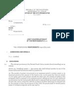 Counter Affidavit Sample Estafa