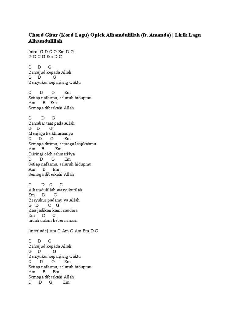 Lirik Dan Chord Lagu Opick Dealova — TTCT
