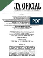 Gaceta Oficial Aumento pasaje 2016