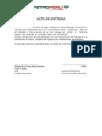 Acta de Entrega de Ambiente Asignado Para Almacen de Unidad Proyectos