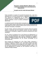 Declaración del Ministro Gustavo Montalvo, Presidente de la Junta Nacional de Alfabetización