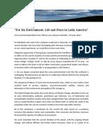 From Latin American Enviromentalists 2016