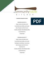 Community Table Menus