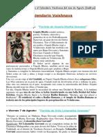 CALENDARIO VAISHNAVA DE AGOSTO